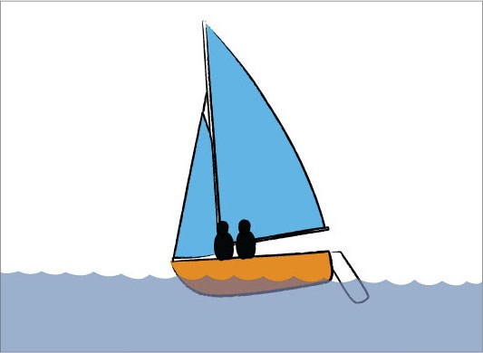 Sit forward to dig the bow in when sailing with no centreboard
