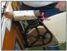 Photo 53,  The rudder attached and tiller inserted